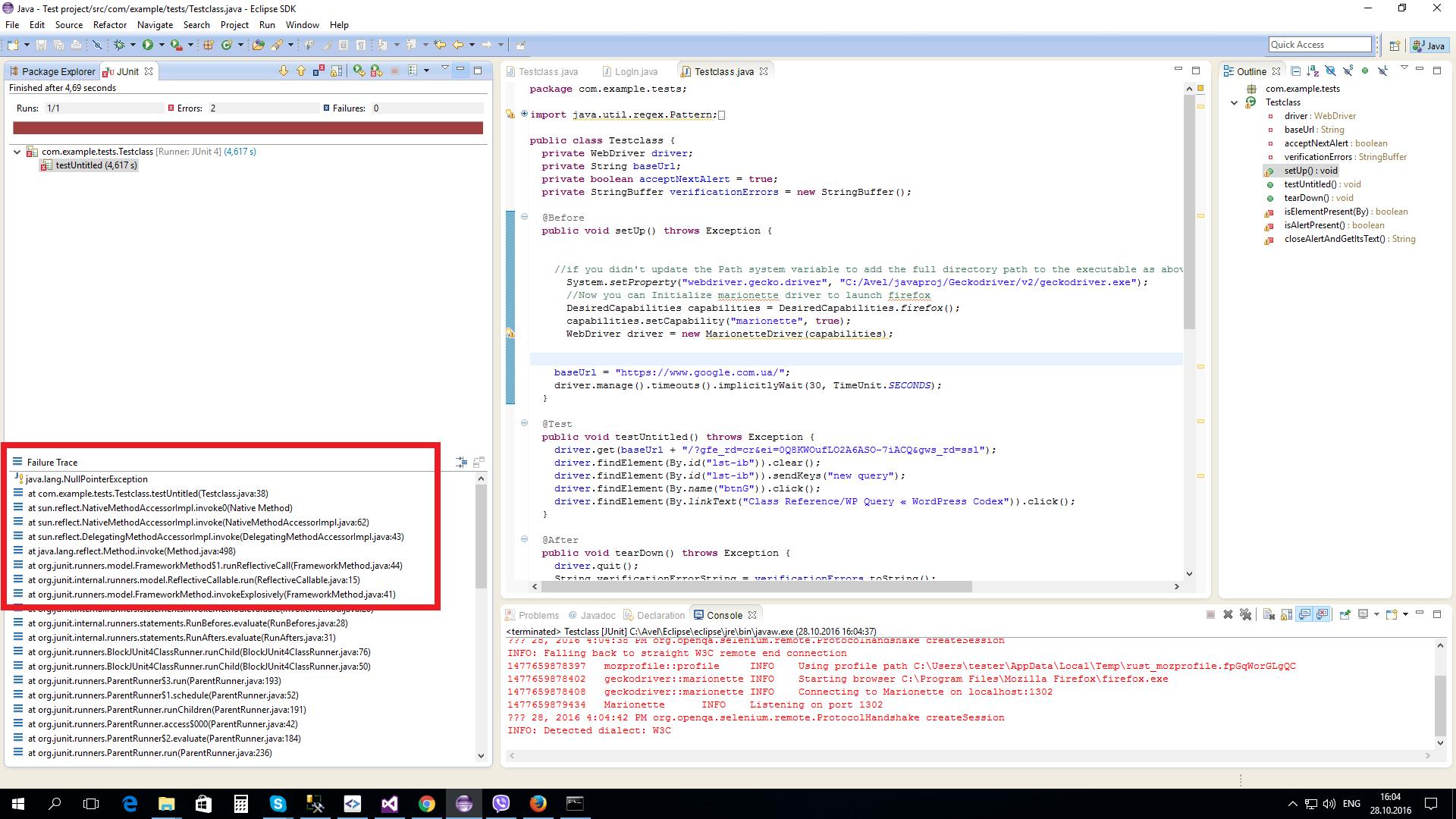 Браузеры (Firefox, Chrome) не запускают тесты  - webdriver