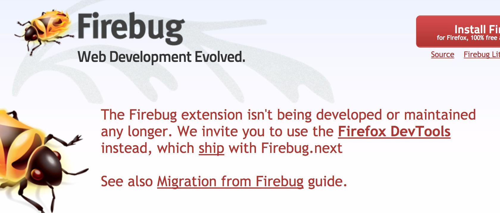 Прекращение поддержки плагина Firebug (а как следствие и Firepath) в