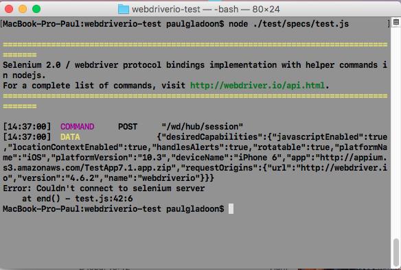 WebdriverIO + Appium MacOS - тестовый запуск приложения
