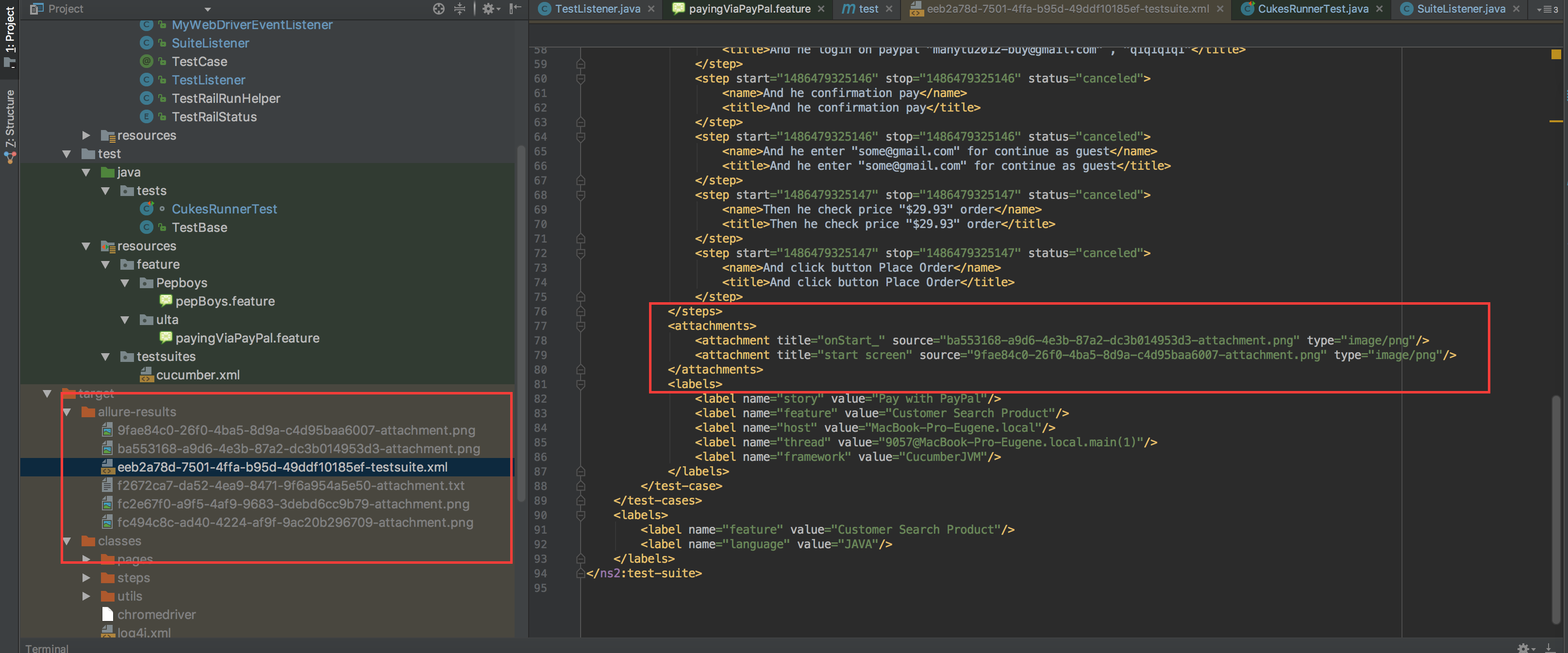 Allure+TestNG+Cucumber скриншоты создаются но не прикрепляются к